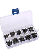 500Pcs Carbon Steel Carp Fishing Jig Hooks With Hole Fly Fishing Tackle Box 3# -12# 10 Sizes Fish Hooks
