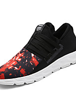 Men's Sneakers Spring / Fall Comfort / Round Toe Tulle Athletic Flat Heel Lace-up Black / Red / Black and Whit