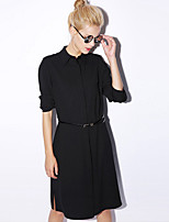 NEW BEFORE  Women's Casual/Daily Simple Shirt DressSolid Shirt Collar Knee-length Long Sleeve