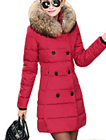 Women's Long Padded CoatStreet chic Plus Size / Casual/Daily Solid Slim Hin Thin Fur Trim Long Sleeve Hooded