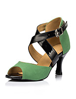 Non Customizable Women's Dance Shoes Suede Suede Latin Heels Stiletto Heel Practice Green