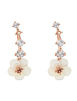 Earring Flower Drop Earrings Jewelry Women Fashion Wedding / Party Zircon / Gold Plated 1 pair Gold / Silver