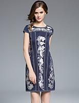 маса женщины плюс размер / выход старинные оболочки dressprint вокруг шеи выше колена с коротким рукавом синий / красный