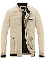 Men's Long Sleeve Casual / Sport JacketCotton / Polyester Solid Black / Blue / Brown / Red / Yellow
