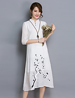 Women's Going out / Holiday Cute / Street chic / Sophisticated DressFloral Stand Midi  Length Sleeve White Linen