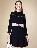 DOF Women's Casual/Daily Cute Loose DressPrint Round Neck Above Knee Long Sleeve Black Cotton Fall