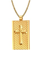Men's Fashion Generous  Golden Cruciform Rectangle Stainless Steel Gold Plated Pendant Necklaces(1pc)