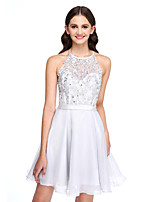 Lanting Bride®Short / Mini Lace / Organza Bridesmaid Dress - Elegant A-line Jewel with Appliques / Beading / Sash / Ribbon