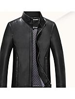Men's Long Sleeve Casual / Work JacketPU Solid Black / Gray