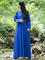 Ramie CottonWomen's Casual/Daily Vintage A DressSolid Round Neck Maxi Long Sleeve Blue Cotton