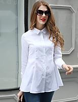 AJIDUO® Женский Рубашечный воротник Длинные Рубашка и Блузка черный увядает / Кот-A9283
