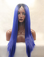 Fashion Long Straight Synthetic Lace Front Wig Glueless 1b/bule Color For Afro Women Wigs