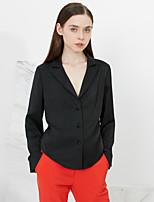 C+IMPRESS Women's Work Sophisticated Spring / Fall ShirtSolid Peaked Lapel Long Sleeve Black Polyester Medium