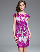 MASA  Women's Plus Size / Going out Chinoiserie / Sophisticated Bodycon DressEmbroidered Round Neck