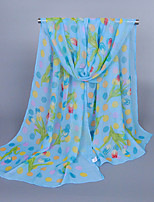 Women's Chiffon Flowers Print Scarf Blue/Purple/Pink/White/Beige