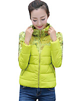 Women's Print Slim Fashion Color Block Down Coat,Street chic Stand Long Sleeve