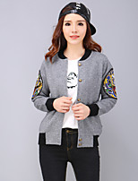 YANG Women's Plus Size / Going out Chinoiserie Spring / Fall JacketsEmbroidered Crew Neck Long Sleeve