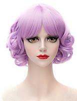 Lavendel lila Highlights ordentlicher Knall kleines Volumen klein und reine und frische College Wind Perücke