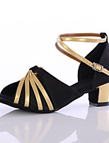 Women's Latin Silk Heels Indoor Customized Heel Black Customizable