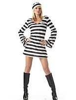 Costumes Zombie Halloween Blanc / Noir Rayé Térylène Robe / Plus d'accessoires / Bandeau