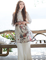 Ramie Cotton Women's Casual/Daily Chinoiserie Loose DressFloral Stand Knee-length  Sleeve White Linen