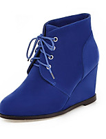 Women's Boots Spring / Fall / Winter Wedges / Fashion Boots Leatherette / Casual Wedge Heel Lace-up Black / Blue / Brown