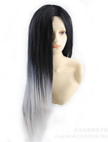 In Harajuku COS Color Long Straight Wig New Cosplay Anime Black Highlights Grey