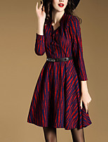 Women's Plus Size / Casual/Daily Simple Sheath Dress,Striped Asymmetrical Above Knee Long Sleeve Red Polyester Fall