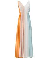 Evento Formal Vestido Linha A Decote V Longo Chiffon com Pregas
