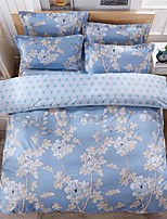 Bedtoppings Comforter Duvet Quilt Cover 4pcs Set Queen Size Flat Sheet Pillowcase Light Blue Pattern Prints Microfiber