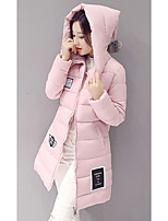 Women's Long CoatSimple Going out Solid-Polyester Polypropylene Long Sleeve Hooded Pink / White