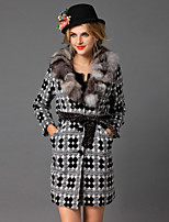 DREAMY LAND  Women's Formal Vintage CoatEmbroidered V Neck Long Sleeve Winter Gray Wool / Fox Fur Medium