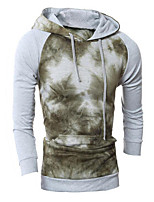 Men's Print Casual / Sport HoodieCotton Long Sleeve Gray