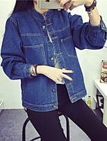 Vestes en Jean Femme,Couleur Pleine Sortie Mignon Hiver Manches Longues Col de Chemise Bleu Autres Moyen