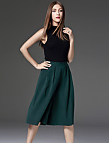 CELINEIA Women's Solid Green Wide Leg PantsSimple Spring / Summer