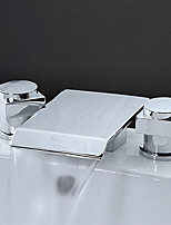 Contemporary / Modern Waterfall / Widespread with  Ceramic Valve Two Handles Three Holes for  Chrome  Bathtub Faucet
