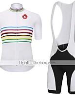 KEIYUEM® Maillot de Ciclismo con Shorts Bib Unisex Mangas cortas BicicletaTranspirable / Secado rápido / A prueba de polvo / Listo para