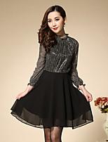 Boutique S Women's Plus Size / Going out Simple A Line DressColor Block Crew Neck Above Knee Long Sleeve Black