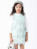 Girl's Casual/Daily Solid DressFaux Fur Winter / Spring / Fall Green / Pink