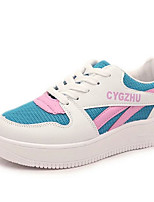 Women's Sneakers Summer Comfort PU Casual Flat Heel Lace-up Black / Blue / Pink / White Others