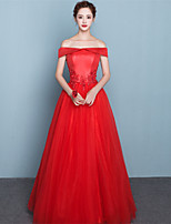 Formal Evening Dress Ball Gown Off-the-shoulder Floor-length Satin / Tulle with Appliques