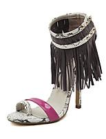 Women's Sandals Summer Sandals PU Casual Stiletto Heel Tassel Blue / Gray Others