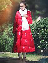Ramie Cotton Women's Solid / Embroidered Blue / Red / White Padded CoatChinoiserie Hooded Long Sleeve