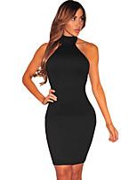 Damen Bodycon Kleid-Klub Sexy Solide Halter Mini Ärmellos Rosa / Schwarz Polyester / Elasthan Sommer Hohe Hüfthöhe Dehnbar Dünn