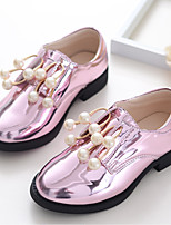 Girl's Flats Spring Fall PU Casual Flat Heel Imitation Pearl Pink Gold Other