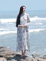 Trapèze Robe Femme Décontracté / Quotidien Vintage,Fleur Col Arrondi Midi Manches Longues Beige Lin Eté Taille Normale Non Elastique Fin