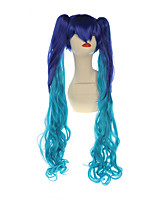 90cm Long Ombre Blue Cosplay Wigs With 2 Ponytails Hollywood Costume Wig Mikucos Synthetic Hair Wigs