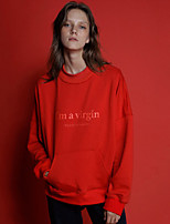 NEATO Women's Casual/Daily Simple Regular HoodiesLetter Pink / Red / Black Round Neck Long Sleeve Cotton Spring / Fall