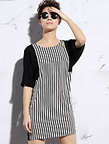 Newbefore Women's Casual/Daily Simple Loose DressStriped Round Neck Above Knee  Length Sleeve Black