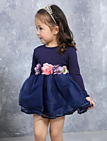 Girl's Casual/Daily Patchwork DressCotton / Polyester Spring / Fall Blue / Pink / Red